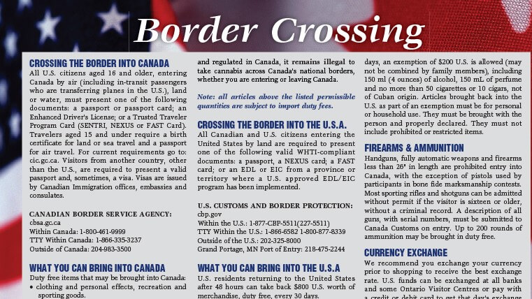 2021 Border Crossing and Distance Chart