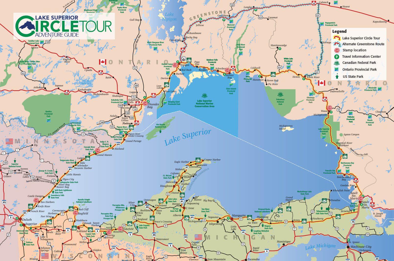 2021 Lake Superior Circle Tour Map
