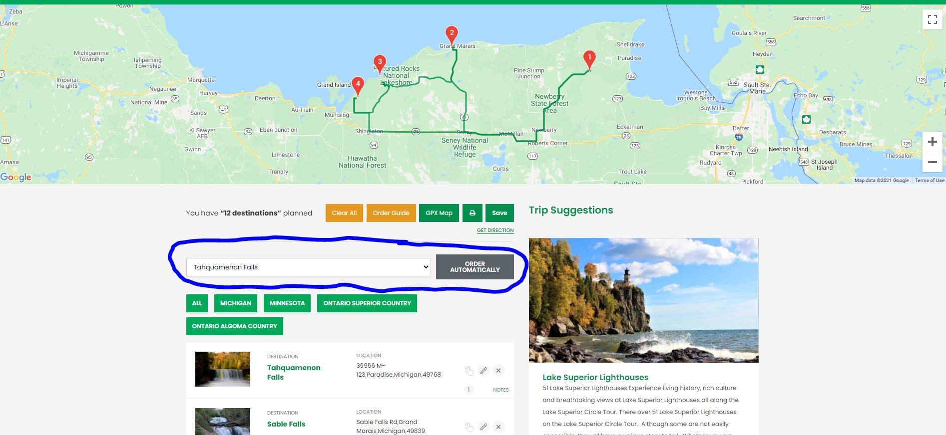 Lake Superior Circle Tour Trip Planner - Order of Locations