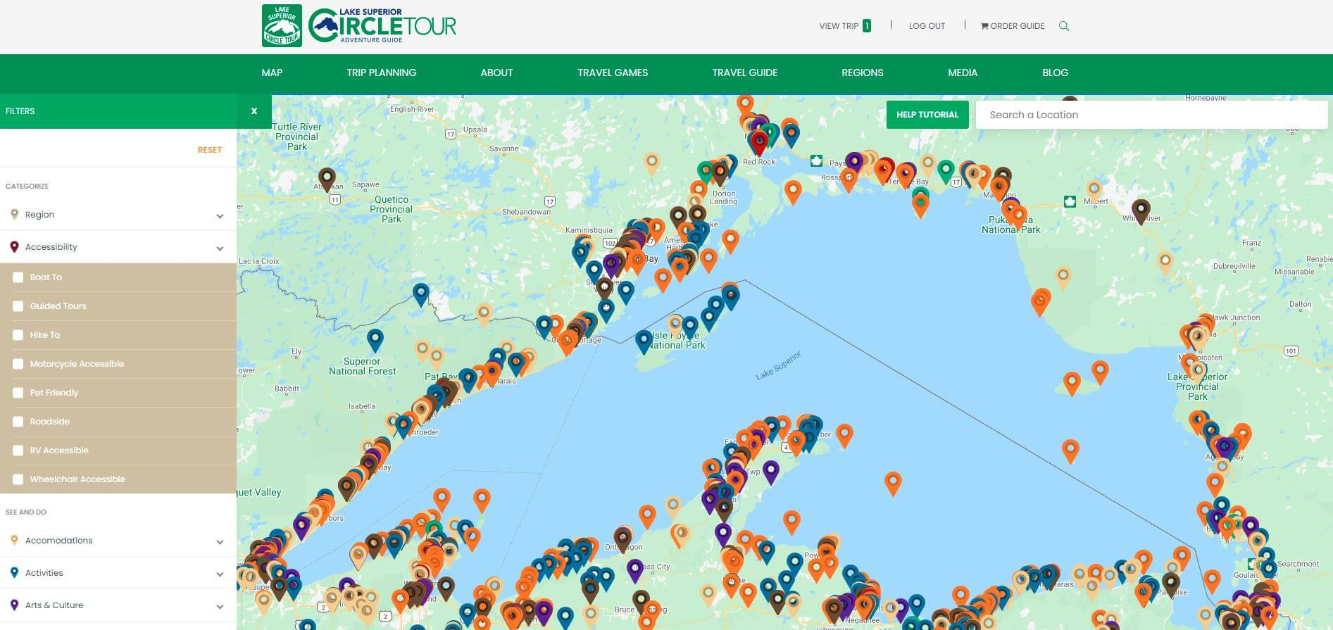 Lake Superior Circle Tour Trip Planner - Using Filters